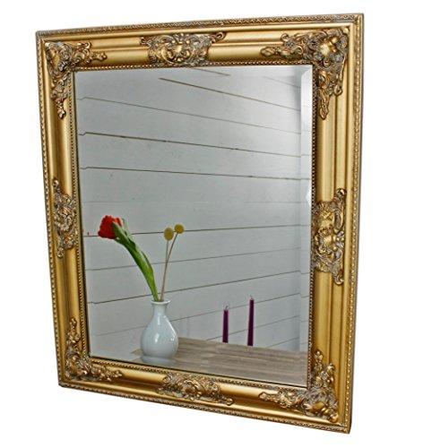 elbmöbel Spiegel Wandspiegel 62x52cm in der Farbe Gold mit Holz-Rahmen barock antik
