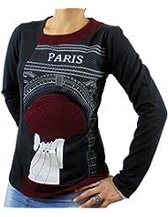Camiseta mujer algodón manga larga color negro con punto,cuello asimétrico y paraguas bordado t-shirt