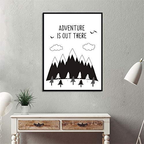 wlwhaoo Abenteuer ist da draußen Leinwand Malerei inspirierende motivierende Zitat Print Wall Art Bilder Poster Kinderzimmer No Frame Kaffee 21x30cm