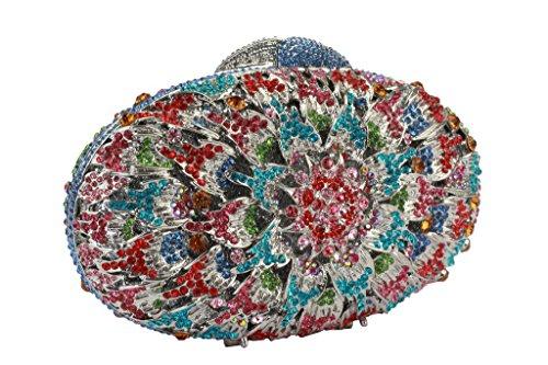 Yilongsheng Ladies Oval coloré soirée Purses avec Scattering Floral Cristal argent multicolore