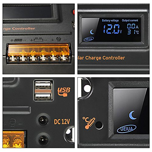 MOHOO 20A 12V-24V Solar Panel Regler Laderegler Intelligente Heim Verwenden PWM & WPC-Modus LCD Display Solarladeregler Mit USB Geeignet für Haus, Industrie, Gewerbe, Boot, Auto usw.# - 8