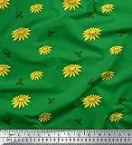 Soimoi Grun Baumwoll-Popeline Stoff Blätter und