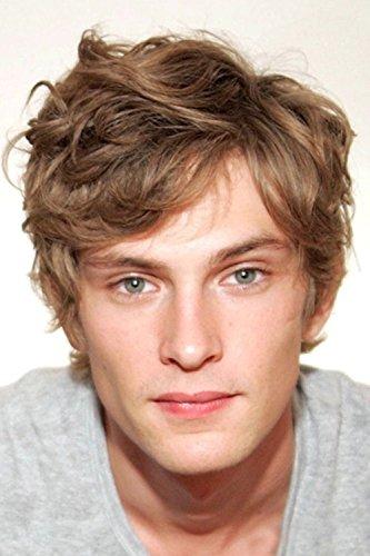 Männer Perücken Kurzelockige Synthetik Hitzebeständig Haar Perückefür Mann mit Perücke Cap (Blond) (Für Männer Lockigen Perücken)