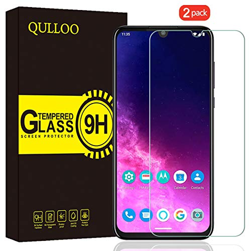 QULLOO Verre Trempé pour Motorola One Zoom Protection Écran Film Protection Anti Rayures Ultra Résistant Dureté 9H Protecteur D'écran pour Motorola One Zoom -2 Pièces