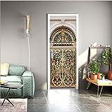nuanyi Autocollant De Porte 3D Peintures Murales Papier Peint Européenne Arc Vintage Religion pour Portes Intérieur Salon DIY Décorations en PVC 77 * 200cm