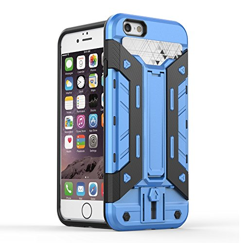 IPHONE 7 Coque,EVERGREENBUYING [Robot-Armor] léger 2 en 1 iPhone7 Cases [Metal Slate] Housse Etui Premium Kickstand Bumper Hard Shell Back Coque Case Pour iPhone 7 4.7 inch Gris Bleu