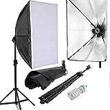 Amzdeal Kit d'éclairage studio/Eclairage de studio Softbox 50 x 70 cm E27 et ampoule de 135W éclairage photographie (Pour des Effets d'éclairage Doux)