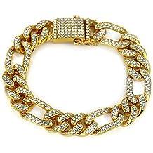 f2cc1ff2ee87 YOLANDE 12mm Elegante Pulsera para Hombre Hip Hop Joyas Diamantes de  imitación de Cristal Diamantes Cubano