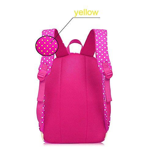 Bcony-Conjunto-de-3-Dot-lindo-Las-mochilas-escolares-universidadbolsas-escolaresmochila-nios-nias-adolescentes-mini-bolso-bolso-crossbodyRosa-Roja