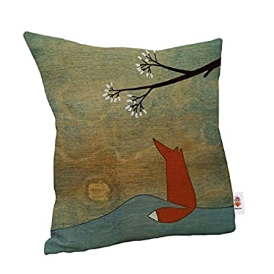 Nunubee Cotton Linen Square Home Decor Cushion Cover Cartoon Fox Pillow Case - inexpensive UK cushion shop.
