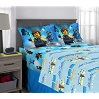 LEGO Movie 2 Kids Bedding Soft Microfiber Sheet Set Full Size 4 Piece Pack Blue