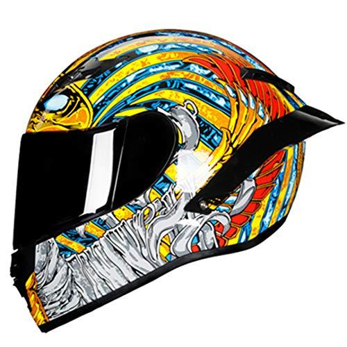 CowCircles Casco Integral Carreras de Motos Casco de Carretera Motocross Moto Kask Helm black1 M