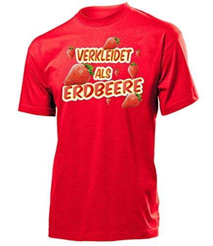 Erdbeere 4988 Karneval Fasching Kostüm Herren T-Shirt Männer Paarkostüm Gruppenkostüm Obstkostüm Karneval Faschingskostüme Karnevalskostüme Rot ()