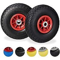Relaxdays, Negro-Rojo 2X Ruedas de Carretilla, Neumáticos de Goma, 3.00-4, Eje de 20mm, hasta 80 kg, 260x85 mm