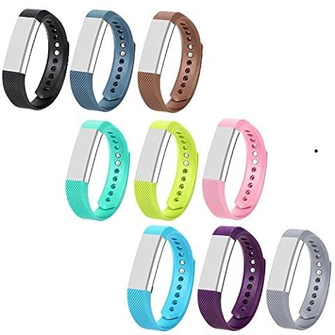 Bracelets de rechange colorés pour Fitbit Alta/Fitbit Alta HR avec fermoirs métalliques (aucun moniteur inclus, bracelets de rechange uniquement), Pack of 9