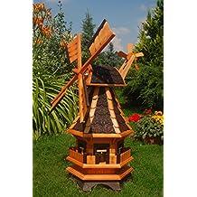 Windmühle,Windmühlen mit Beleuchtung Solar, Solarbeleuchtung kugelgelagert 1,0 m Bitum dunkel