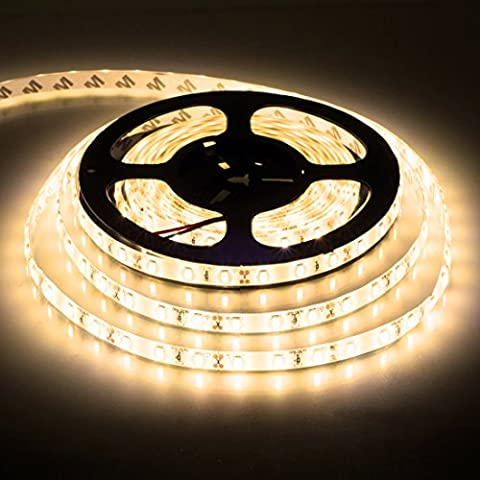 BTF-LIGHTING 5m Warm White SMD5630 Led Strip Light 300LED DC12V imperm¨¦able ¨¤ l'eau IP65 25Lm / LED, 2 fois la luminosit¨¦ que SMD5050 LED Ribbon Light, 5631 LED Tape