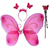 BabyGo Fairy Butterfly Wings Costume For Baby Girl Angel For Birthday Party Gift (White) PARTY SUPPLIES / PRINCESS ACCESSORIES (Pink)