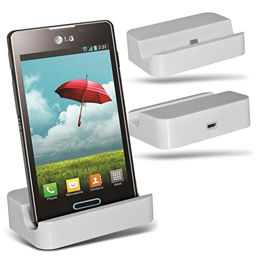 (White)LG Optimus L5 II L5 2 E460 Micro-USB-Desktop-Ladestation stehen Berg By Fone-Case