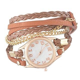 Souarts Damen Geflochten Leder Armbanduhr Maedchen Armreif Uhr mit Batterie Kleine Zifferblatt 57.5CM