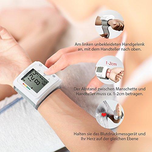 Blutdruckmessgerät Handgelenk Hylogy Vollautomatische professionelle Blutdruk-und Pulsmessung 2*120 Speicherplätze, LCD großem Display und Tagbare Aufbewahrungsbox - 3