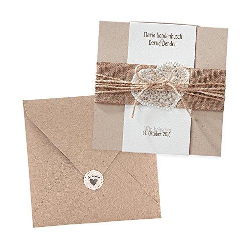 Vintage Einladungskarten Estelle zur Hochzeit, 3 Stück, Kraftpapier, Jute, Spitze - blanko Hochzeitseinladung mit Umschlag und weddix Siegeletikett