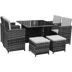 Polyrattan Lounge Gartenmöbel Set Garnitur Sitzgruppe Gartenmöbel SJ08 (Grau)