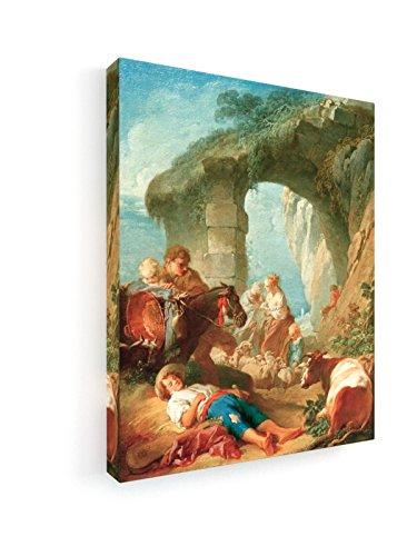 Francois Boucher - Landleben - 60x75 cm - Premium Leinwandbild auf Keilrahmen - Wand-Bild - Kunst,...