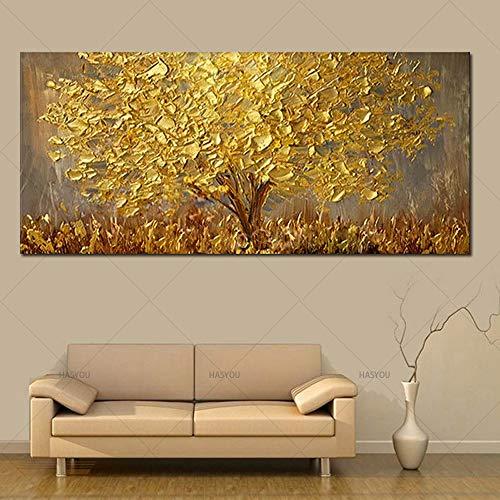 w15Y8 Handgemalte Messer Gold Baum Ölgemälde Auf Leinwand Große Palette 3D Gemälde Für Wohnzimmer Moderne Abstrakte Wandkunst Bilder + Rahmen - Eine 50X100 cm -