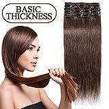 45-55CM 8 Extensions de cheveux humains à clips naturels - 100% Remy hair - 8 Mèches / 18 Clips (45cm=70g, 04 Marron chocolat)