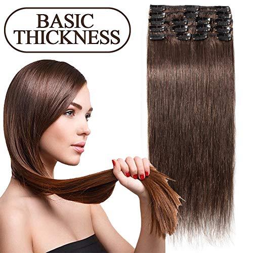S-noilite 45-55CM 8 Extensions de cheveux humains à clips naturels – 100% Remy hair - 8 Mèches / 18 Clips (50cm=70g, 04 Marron chocolat)
