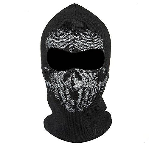 Fortag Unterschiedliche Sturmhaube Geister Schädel-Maske Gesichtshaube Balaclava Windmaske Skimaske Motorradmaske für Herren Damen Outdoor Sports Motorrad Ski Snowboard Ghost Skull Maske (Modell-4)
