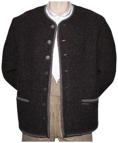 Brown-streifen-wolle-anzug (Trachten Strickweste Strickjacke Woll-Jacke Trachtenjacke Trachtenjanker braun, Größe:60)