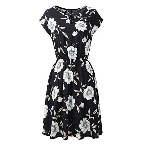 Damen Knielang Kleider,Kanpola Frauen Vintage mit Flatterndem Rock Blumenmuster Minikleid Rockabilly...