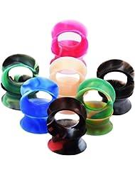 """D&M Jewelry 14 Piezas de Colorida Silicona 2G-3/4""""(6-20mm) Hueco Expansor de Túnel de Colores Mezclados Ear Plug Pendientes de Oreja Piercing"""