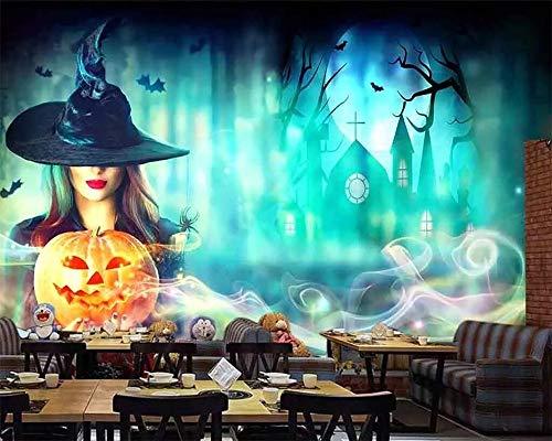 BZDHWWH Benutzerdefinierte Tapete Halloween Nacht Horror Kürbis Serie Partei Hintergrund Wand Ktv Bar Wohnzimmer Schlafzimmer 3D Tapete,380cm(W) x 240cm(H)