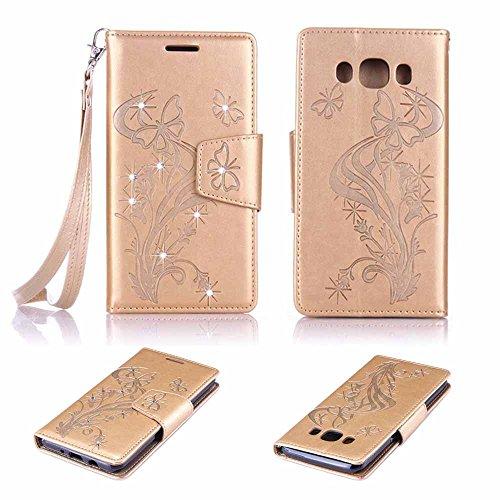 Schutzhülle für Galaxy J5 (2016) SM ,Billionn Ledertasche mit Stand Funktion Kartenfächer Magnet Etui Schale Schutzhüllen für Samsung Galaxy J5 (2016) SM - J510 (Grau)