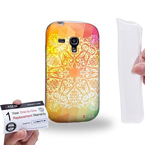 Case88 [Samsung Galaxy S3 Mini] Custodia/Cover Gel/TPU/Prottetiva & Certificato di garanzia - Art Fashion Rainbow Doodle Doilies Art1551