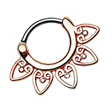 Piersando Piercing Ring für Septum Tragus Helix Ohr Nase Lippe Brust Intim Nasenpiercing Ohrpiercing Clicker Tribal Fächer mit Kristallen Rosegold Rose Gold 1,6mm