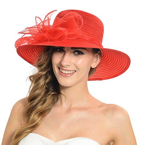 Damen Eichen Derby Kirchen Kleid Britischen Tee Party Hochzeit Hüte S052 (Rot)