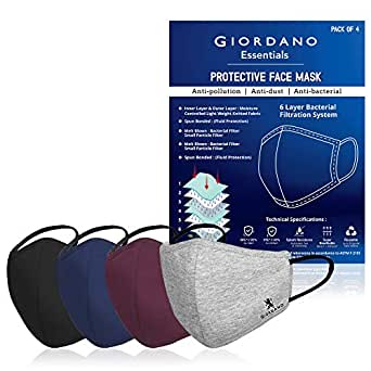 Giordano Cotton Anti Pollution 6 Layer Reusable Outdoor Face Mask - Pack of 4