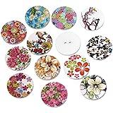 Souarts mezclados al azar diseño de flores redondo 2agujeros madera Botones de madera para costura manualidades 25mm Paquete de 100