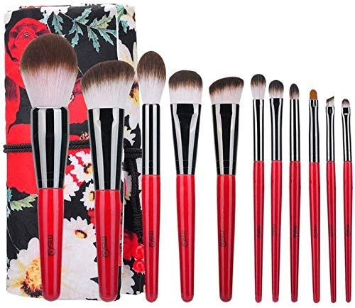 HZS Make-Up Pinsel Erweitern Kabuki Kosmetik-Tool Augenbrauen Lippen Lidschatten Foundation Pinsel Elegant (11 Stück, Rot, Schwarz)