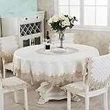 adaada Vintage europäischen Stil Stickerei Spitze Tischdecke Home Decor für Party Hochzeit Home Restaurant Polyester Runde Tischdecke Beige, diameter120cm