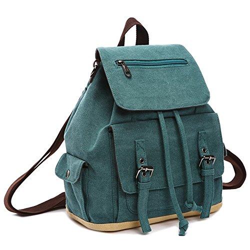 Canness-Women's backpack Frauen Rucksack Daypack wasserdichte Vintage Kordelzug Leinwand Schule Outdoor-Shopping für Männer Frauen, Arbeit (Farbe : Coral Blue) -