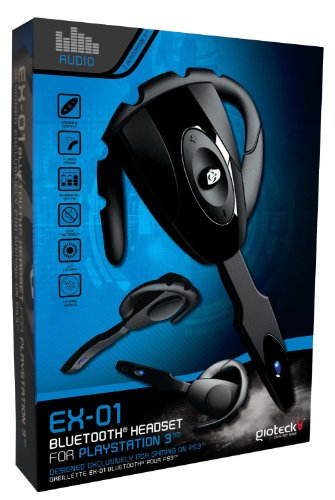 Playstation 3 - EX-01 Bluetooth Headset Schwarz Rechargeable Wireless Bluetooth Headset Kopfhörer für PS3 Gaming