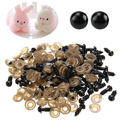 200pcs Ojos de Seguridad Plástico para Muñeca Peluche Títeres DIY Negro (6mm)