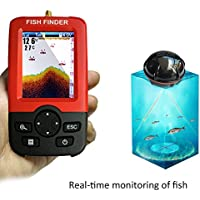 100 m Tiefenfischmesser tragbar Angeln Meer Strand intelligent LanLan Fischfinder Drahtlos Eis Sonar farbiges LCD-Display f/ür Boot Wiederaufladbar 45-m-Reichweite Punktmatrix