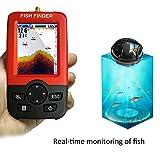 Lifesongs Fisch-Finder, drahtlose & wiederaufladbare Sonar Sensor Fisch-Finder, LCD Display Smart tragbar Tiefer, Tiefe Reichweite bis zu 45m