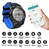 Smartwatch, Bluetooth 4.0 Smart Watch 30 m impermeabile IP68 sport fitness tracker orologio con contapassi sonno monitor SMS chiamata notifica Push/Remote camera Music ultravioletta per Android e iOS Phone